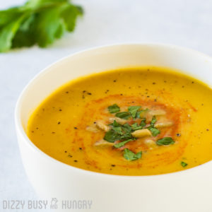 Healthy Butternut Squash Soup   BlessThisEmptyNest.com - Silky, fragrant, and flavorful, this comforting soup is a perfect dish for a cozy dinner with your honey!!